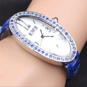 Blue Sapphire Diamond 1.90 Tcw Unisex Luxury Watch